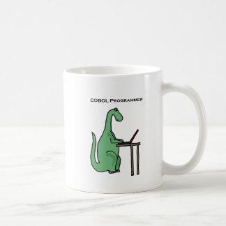 Taza De Café Dinosaurio divertido del programador de COBOL