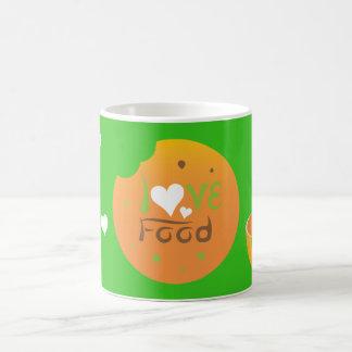 Taza De Café Diseño del fondo del verde de la comida del amor