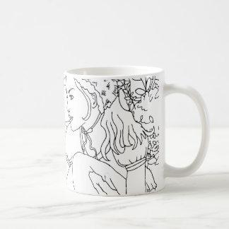Taza De Café diseño del jardín del conejo y del chica