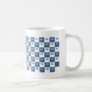 Taza De Café Dos palabras de la letra azules e Intrl blanco.