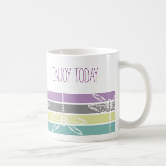 Taza De Café Drangonfly rainbow enjoy today feminine travel mug