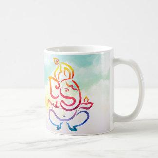 Taza De Café Ejemplo de color de la acuarela Ganesha y de