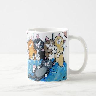 Taza De Café Ejemplo lindo del Sleepover del gatito