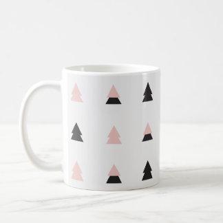 Taza De Café el árbol color de rosa del oro y el navidad negro