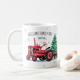 Taza De Café El árbol de navidad rojo del tractor del vintage