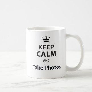 Taza De Café El blanco 325 ml guarda calma y toma las fotos