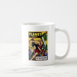 Taza De Café El Blonde heroico monta un dinosaurio