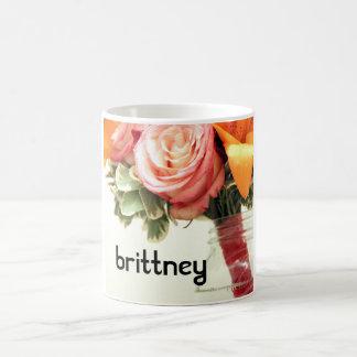 Taza De Café el boda florece personalizar anaranjado rosado del