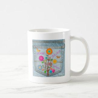 Taza De Café El bolsillo trasero del dril de algodón florece