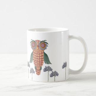 Taza De Café El búho de la sabiduría y de las flores
