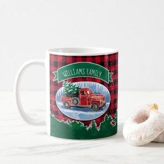 Taza De Café El camión del vintage del navidad añade nombre