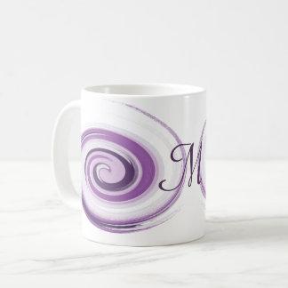 Taza De Café El cepillo violeta abstracto frota ligeramente