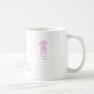 Taza De Café El chica de perro de los oídos del papá rosado