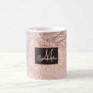 Taza De Café El ejemplo floral del oro color de rosa moderno