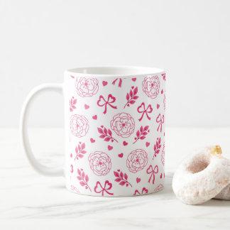 Taza De Café El el día de San Valentín florece rosa de los