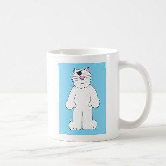 Taza De Café El gato con el remiendo del ojo encendido,