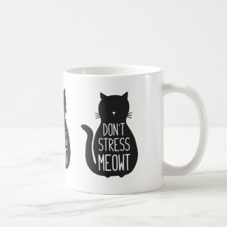 Taza De Café El gato negro divertido no subraya Meowt