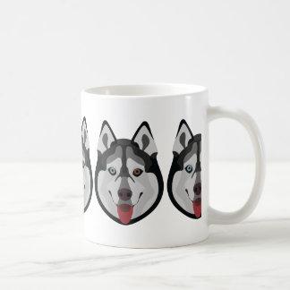 Taza De Café El ilustracion persigue el husky siberiano de la