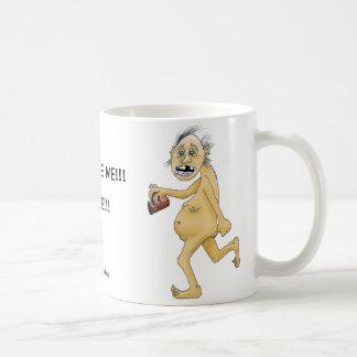 Taza De Café El individuo desnudo extraño quiere el café