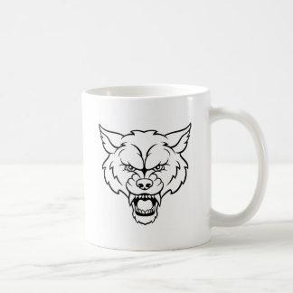 Taza De Café El lobo se divierte la cara enojada de la mascota