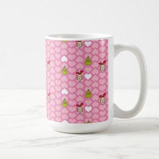 Taza De Café El modelo rosado del corazón de Grinch y de