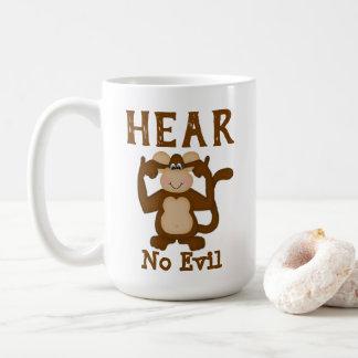 Taza De Café El mono divertido no oye ningún mal
