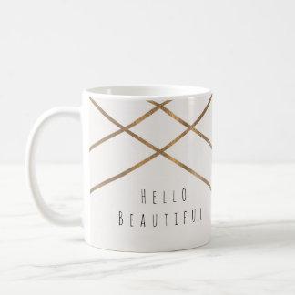 Taza De Café El oro alinea personalizado hermoso atractivo