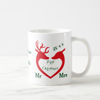Taza De Café El primer navidad personalizado casó ciervos del