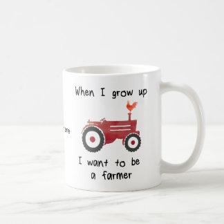 Taza De Café El tractor rojo con el pollo-Yo quiere ser