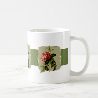 Taza De Café El vintage rojo florece de par en par