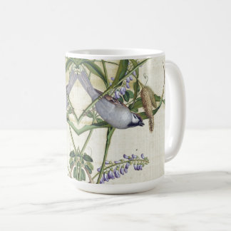 Taza De Café El Wildflower asiático de la fauna de los pájaros