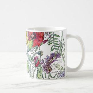 Taza De Café El Wildflower de las amapolas de la arveja del