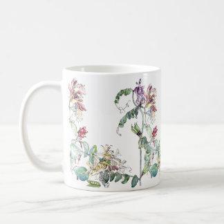 Taza De Café El Wildflower de los guisantes de la madreselva