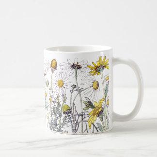 Taza De Café El Wildflower del crisantemo del vintage florece