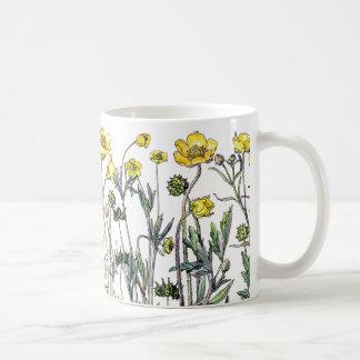 Taza De Café El Wildflower del ranúnculo del vintage florece la