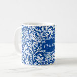 Taza De Café Elegante William Morris Thistle Azul y Blanco