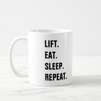 Taza De Café Elevación. Coma. Sueño. Repetición