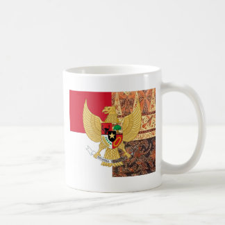 Taza De Café Emblema de Indonesia - la bandera del batik de