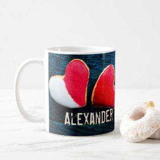 Taza de café en forma de corazón personalizada de