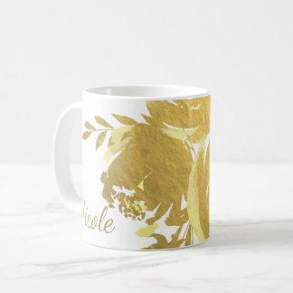 Taza De Café Encanto floral moderno elegante de la falsa hoja