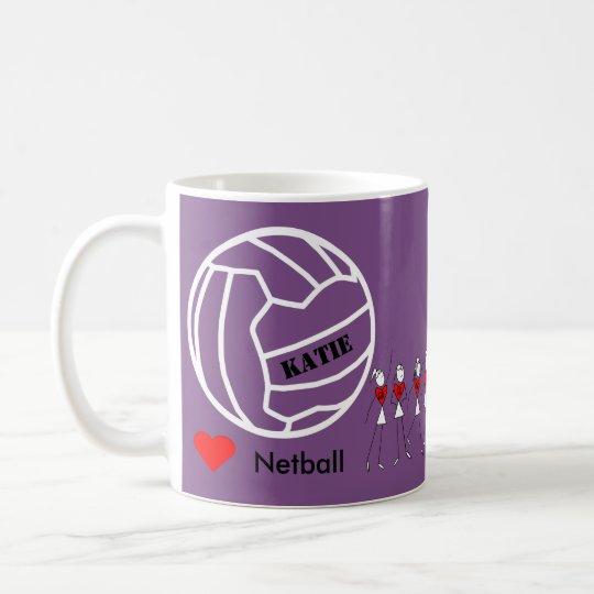 Taza De Café Equipo personalizado del Netball del amor y diseño