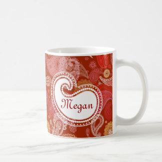 Taza De Café Escarlata rojo Paisley