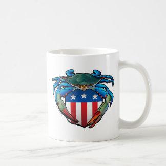 Taza De Café Escudo de los E.E.U.U. del cangrejo azul
