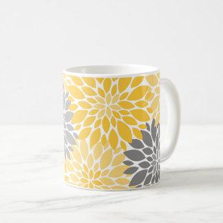 Taza De Café Estampado de flores amarillo y gris de los