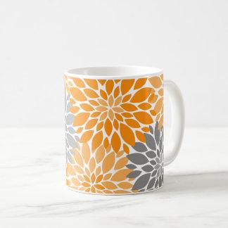 Taza De Café Estampado de flores anaranjado y gris de los