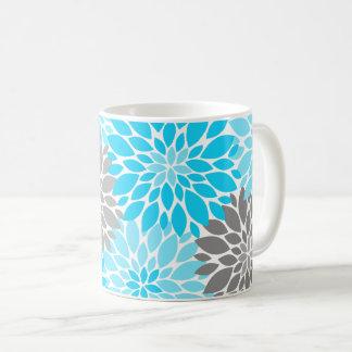 Taza De Café Estampado de flores azul y gris de los crisantemos