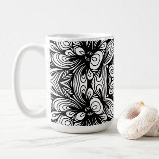 Taza De Café Estampado de flores clásico complejo blanco y