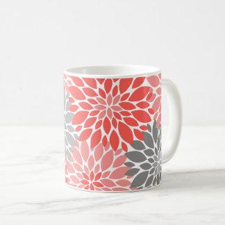 Taza De Café Estampado de flores coralino y gris de los