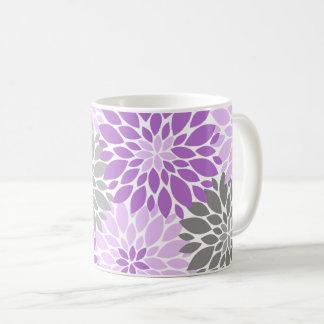 Taza De Café Estampado de flores púrpura y gris de los