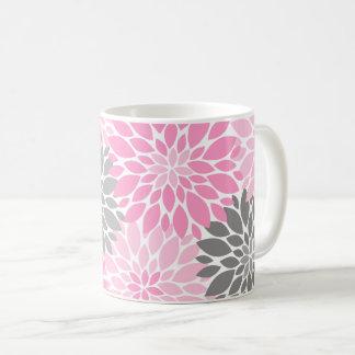 Taza De Café Estampado de flores rosado y gris de los
